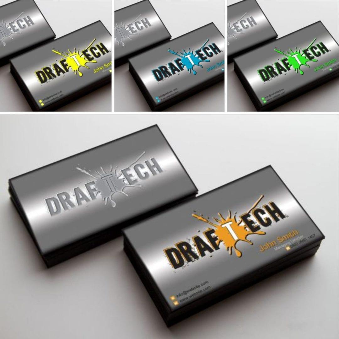 """""""DrafTech"""" névjegykártya és logó terv"""
